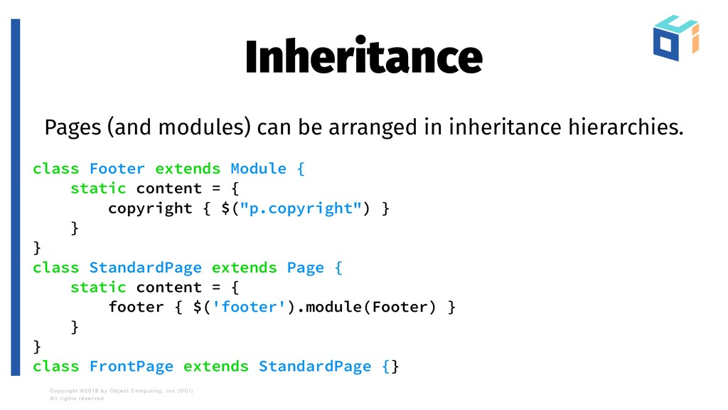 Inheritance Pages (and modules) can be arranged...