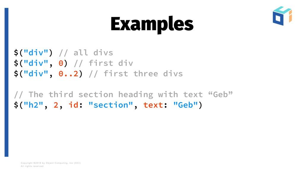 """Examples $(""""div"""") // all divs $(""""div"""", 0) // fi..."""