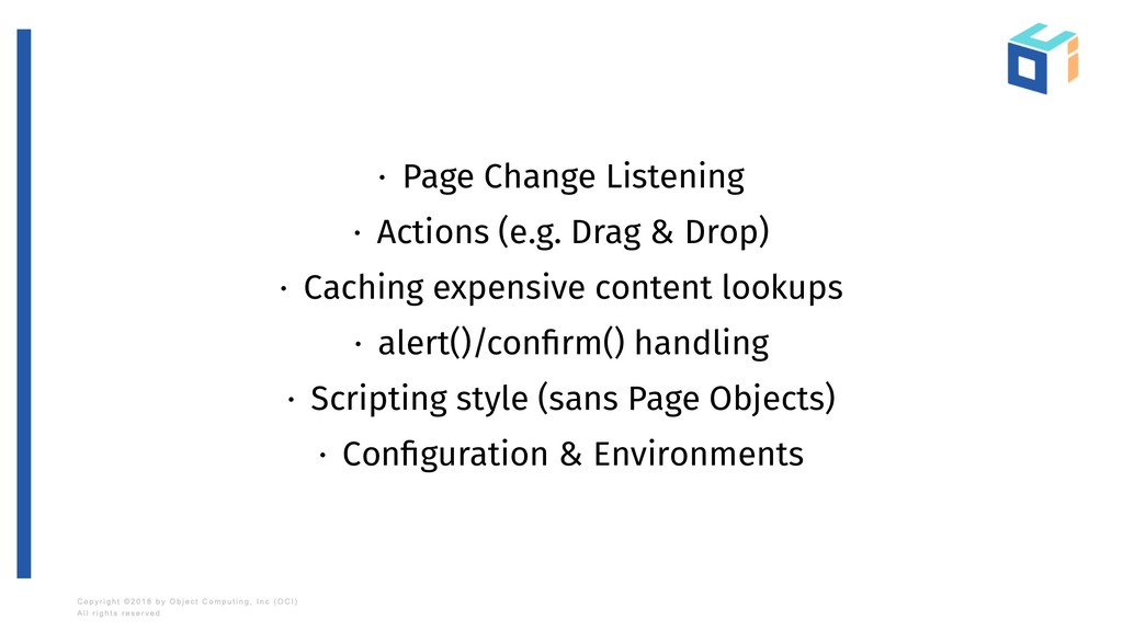 · Page Change Listening · Actions (e.g. Drag & ...