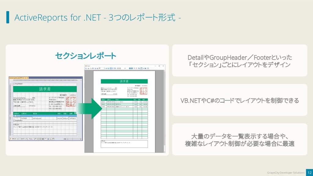 ActiveReports for .NET - 3つのレポート形式 - 12 GrapeCi...