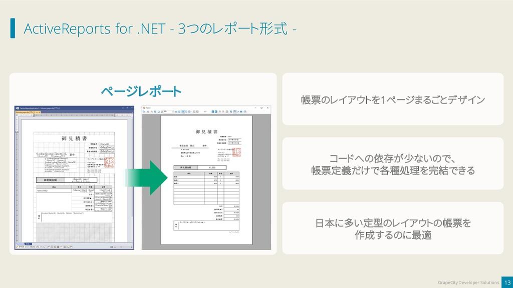 ActiveReports for .NET - 3つのレポート形式 - 13 GrapeCi...