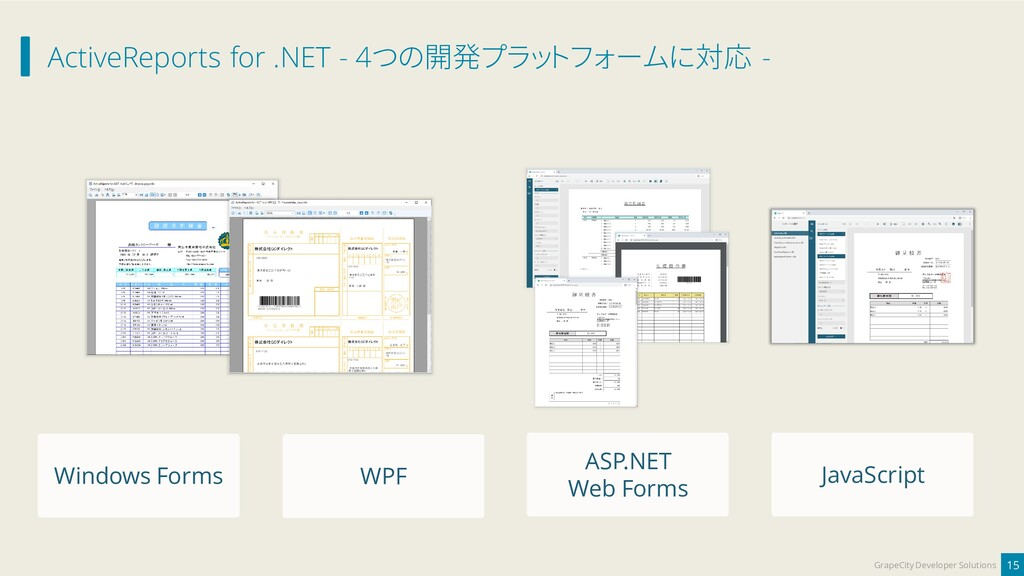 ActiveReports for .NET - 4つの開発プラットフォームに対応 - 15 ...