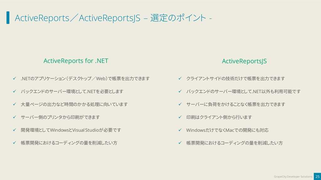 ActiveReports/ActiveReportsJS – 選定のポイント - 25 Gr...