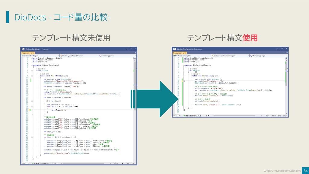 DioDocs - コード量の比較- 34 GrapeCity Developer Solut...