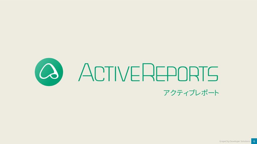 6 GrapeCity Developer Solutions アクティブレポート