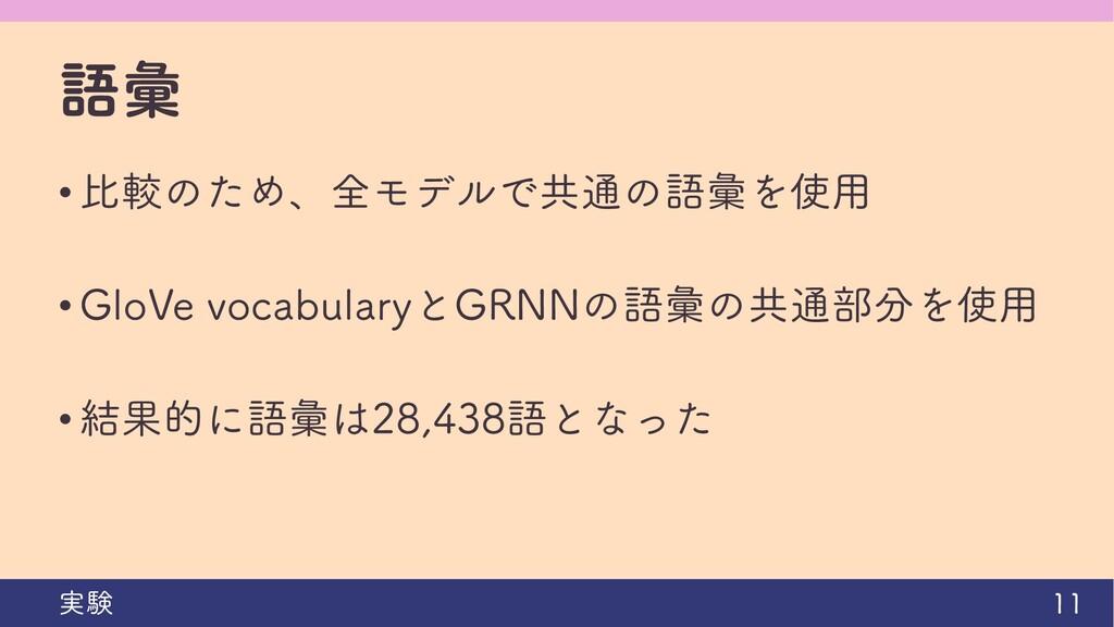語彙 • 比較のため、全モデルで共通の語彙を使用 • GloVe vocabularyとGRN...