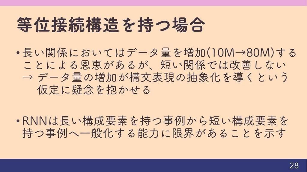 等位接続構造を持つ場合 • 長い関係においてはデータ量を増加(10M→80M)する ことによる...