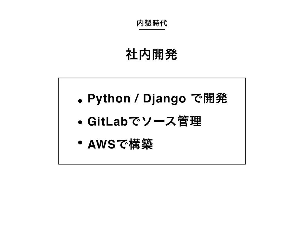  ࣾ։ൃ Python / Django Ͱ։ൃ GitLabͰιʔεཧ AWSͰ...