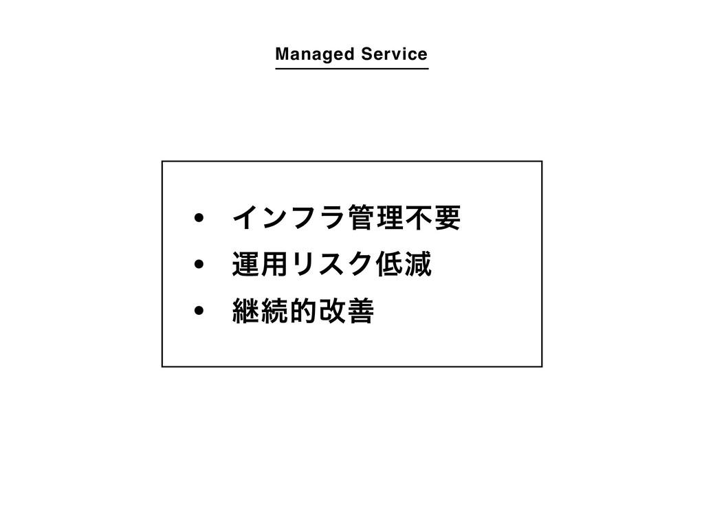 Managed Service Πϯϑϥཧෆཁ ӡ༻ϦεΫݮ ܧଓతվળ