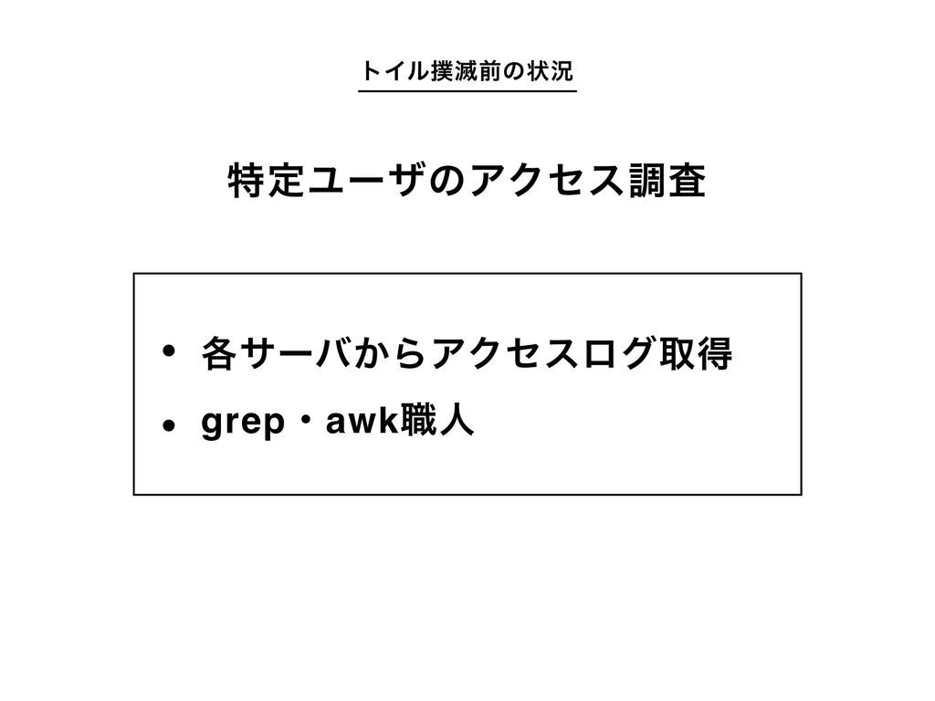 τΠϧ໓લͷঢ়گ ֤αʔό͔ΒΞΫηεϩάऔಘ grepɾawk৬ਓ ಛఆϢʔβͷΞΫηεௐࠪ