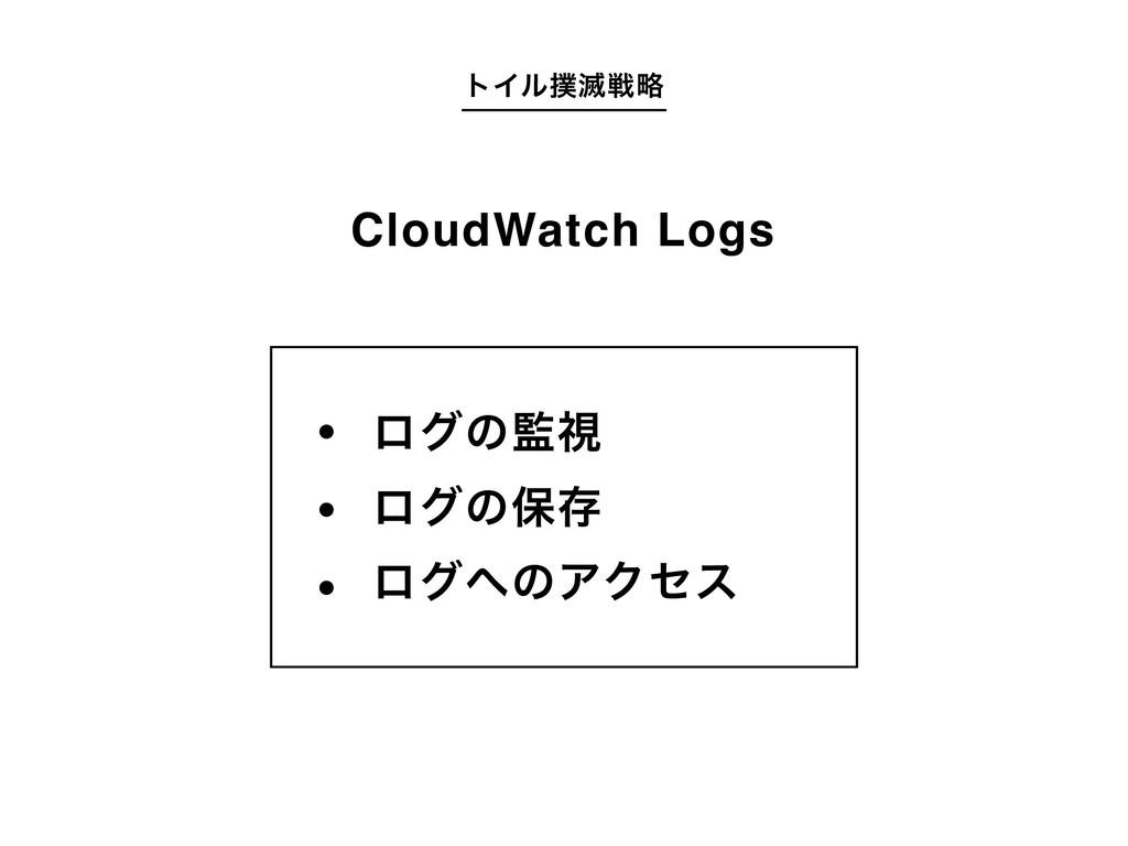 τΠϧ໓ઓུ ϩάͷࢹ ϩάͷอଘ ϩάͷΞΫηε CloudWatch Logs