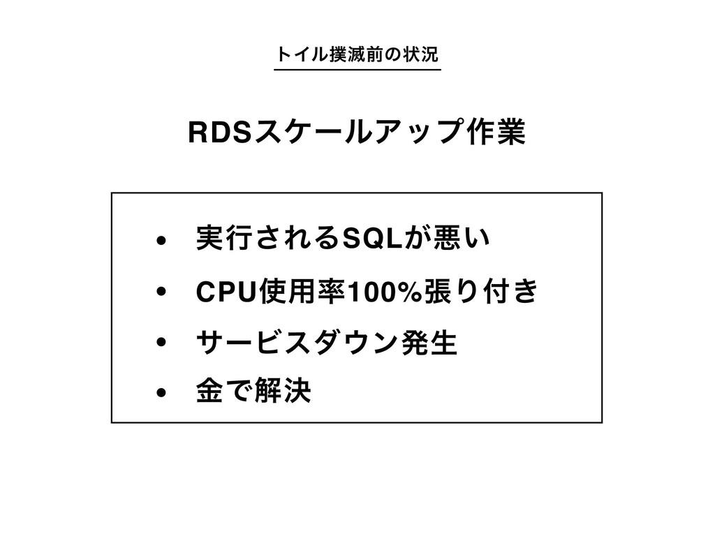 τΠϧ໓લͷঢ়گ RDSεέʔϧΞοϓ࡞ۀ ࣮ߦ͞ΕΔSQL͕ѱ͍ CPU༻100%ுΓ...