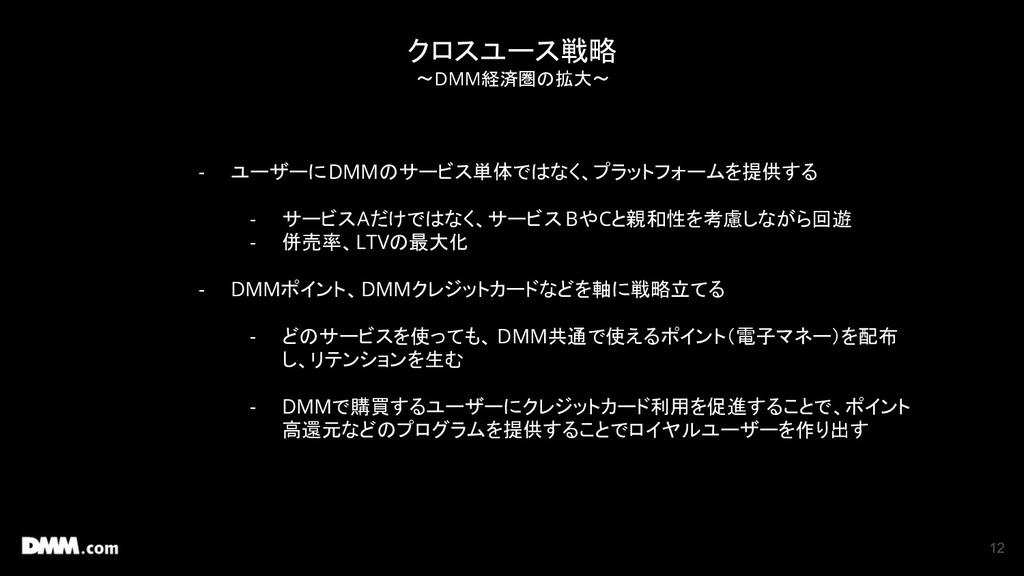 12 クロスユース戦略 〜DMM経済圏の拡大〜 - ユーザーにDMMのサービス単体ではなく、プ...