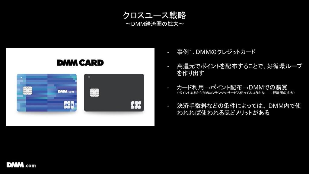 クロスユース戦略 〜DMM経済圏の拡大〜 - 事例1. DMMのクレジットカード - 高還元で...