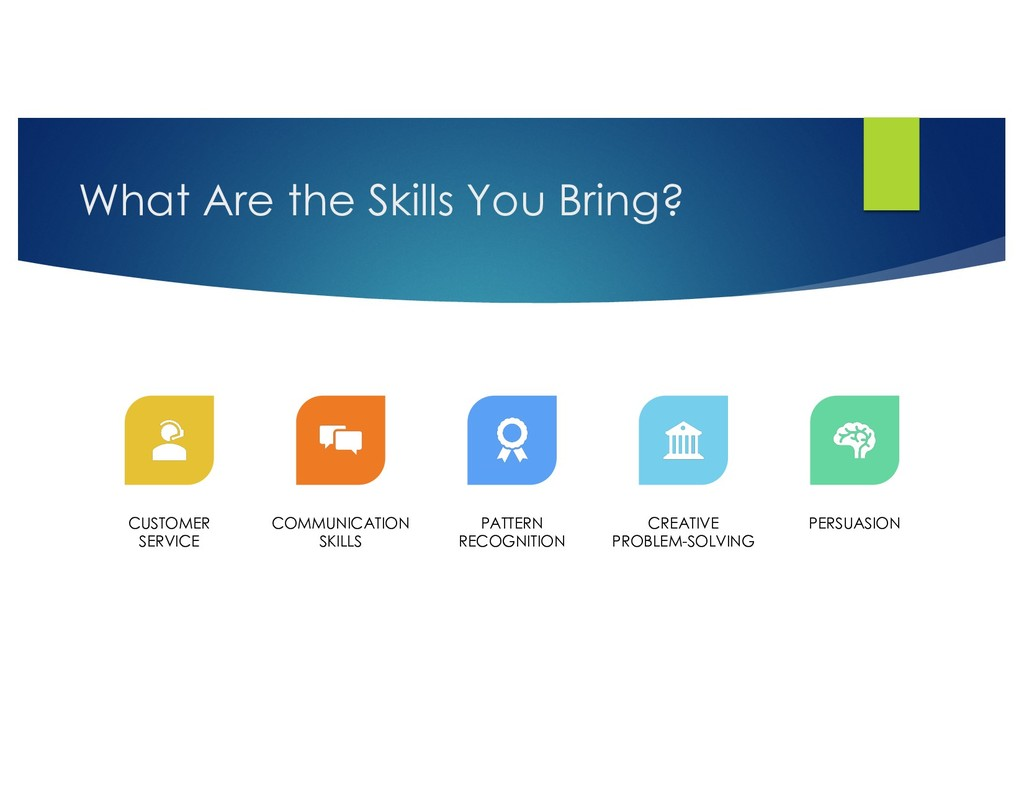 What Are the Skills You Bring? CUSTOMER SERVICE...