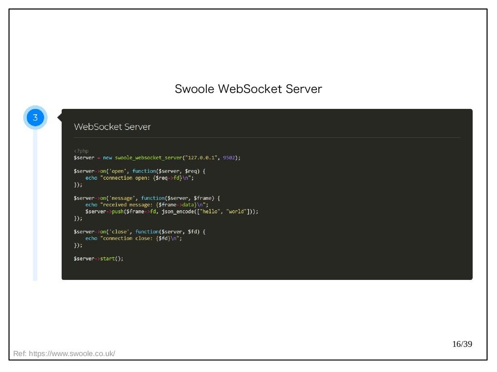 16/39 Swoole WebSocket Server Ref: https://www....