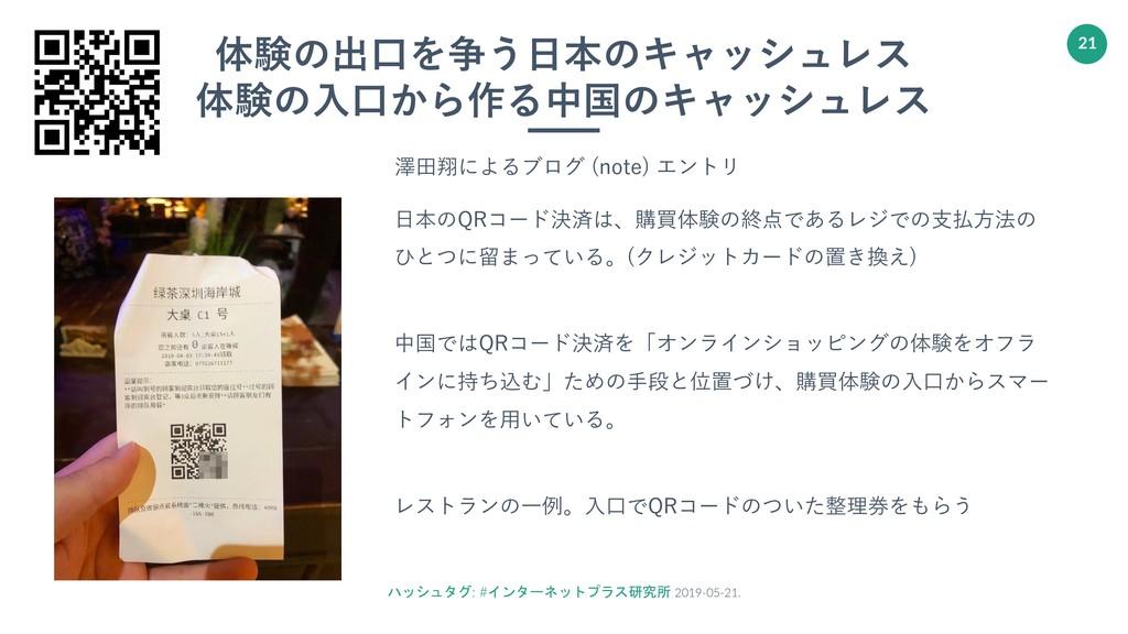 ハッシュタグ: #インターネットプラス研究所 2019-05-21. 21 体験の出⼝を争う⽇...