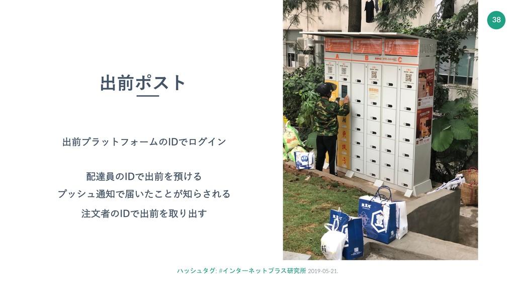 ハッシュタグ: #インターネットプラス研究所 2019-05-21. 38 出前ポスト 出前プ...