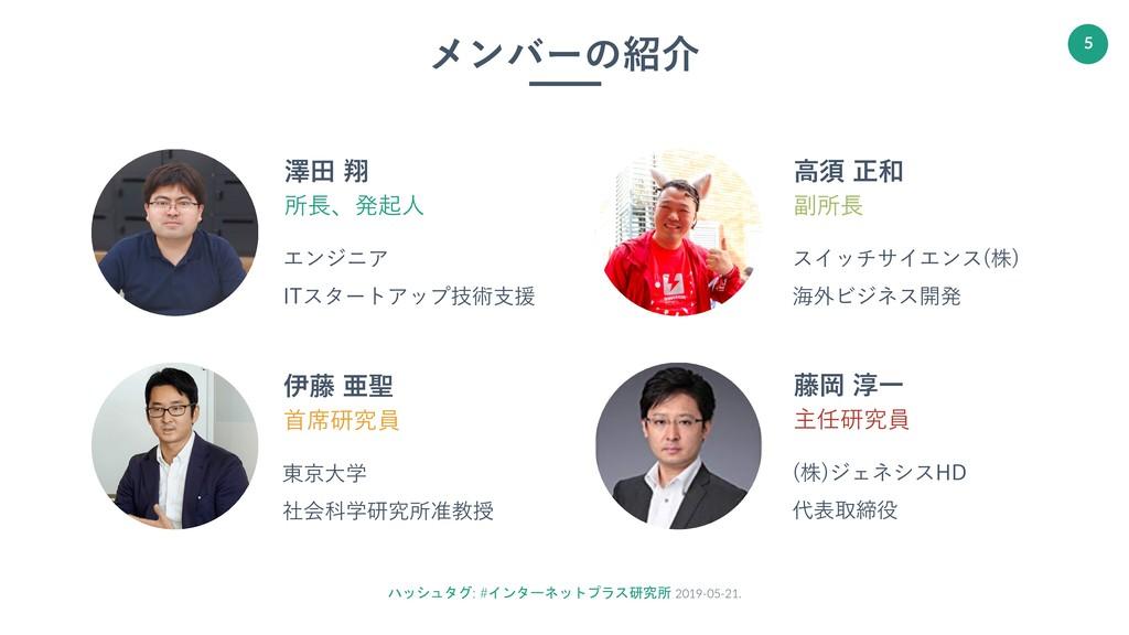 ハッシュタグ: #インターネットプラス研究所 2019-05-21. 5 澤⽥ 翔 所⻑、発起...