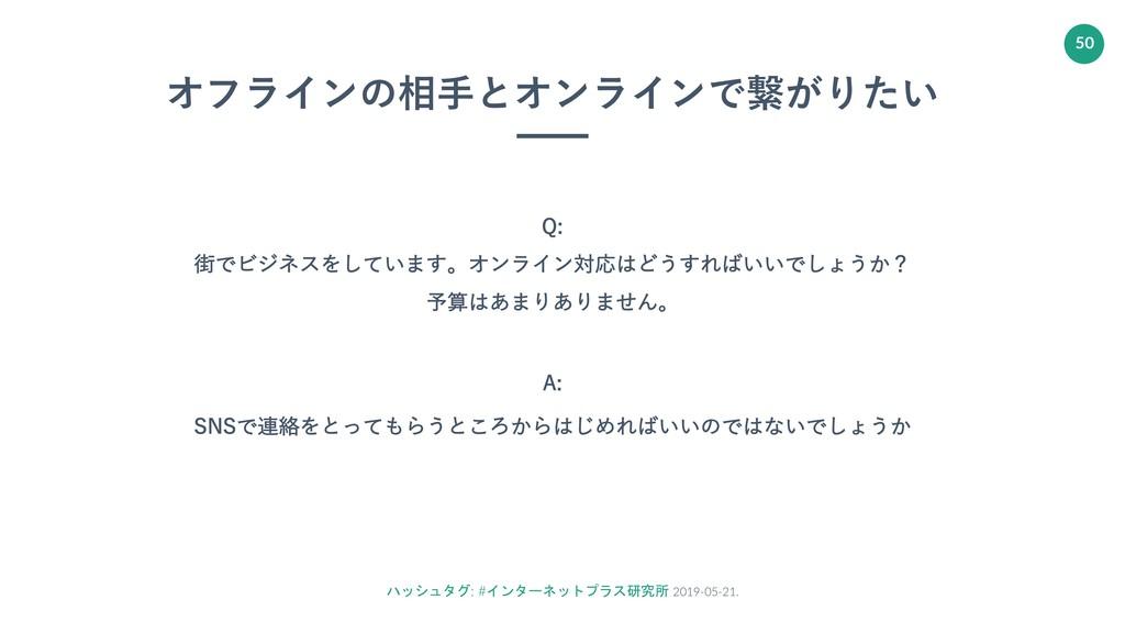 ハッシュタグ: #インターネットプラス研究所 2019-05-21. 50 オフラインの相⼿と...