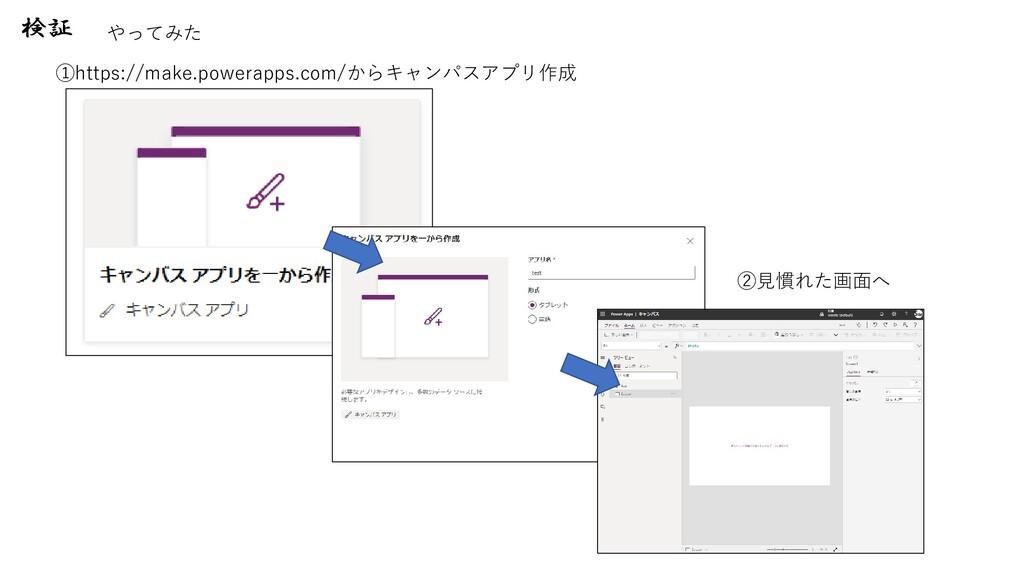 検証 やってみた ①https://make.powerapps.com/からキャンパスアプリ...