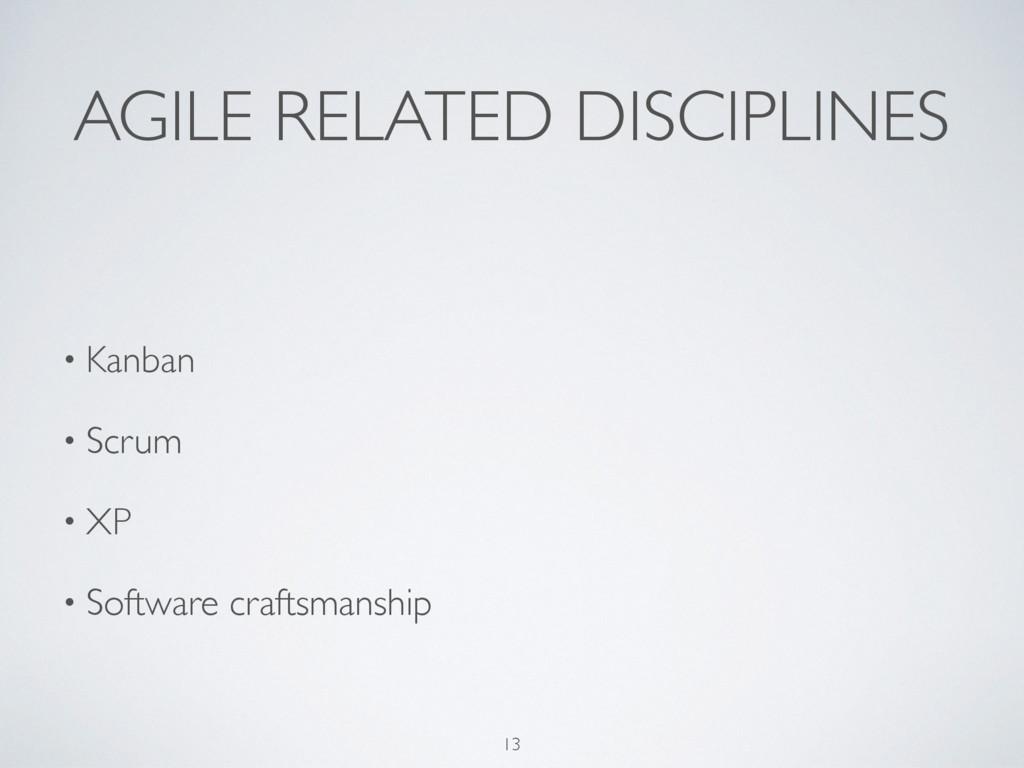 AGILE RELATED DISCIPLINES • Kanban • Scrum • XP...