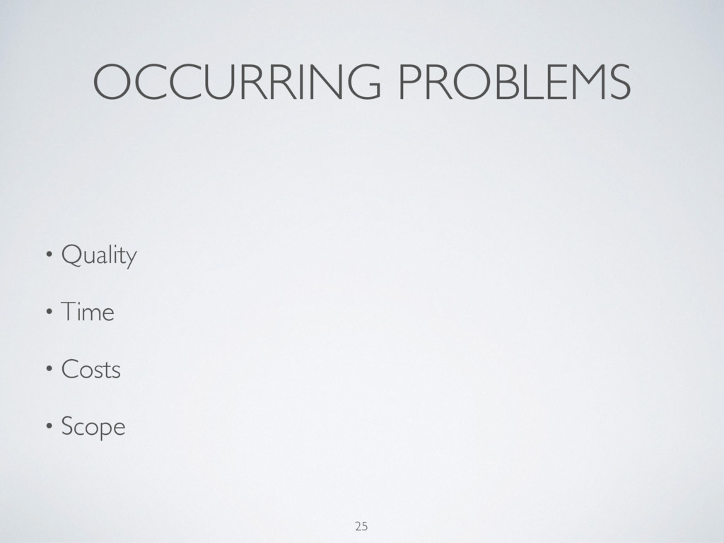 OCCURRING PROBLEMS 25 • Quality • Time • Costs ...