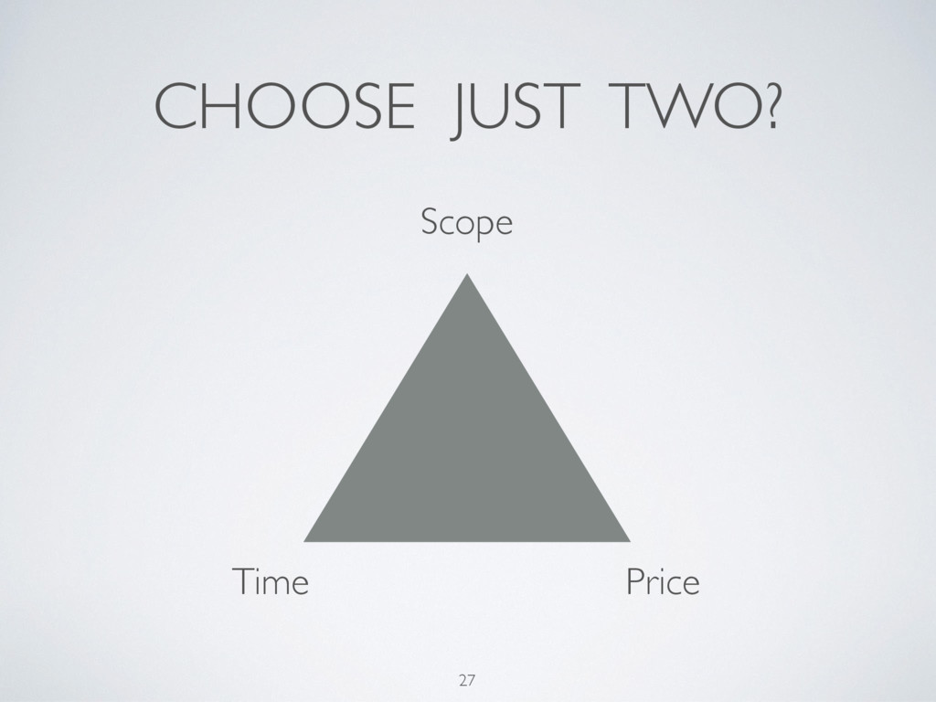 27 Scope Time Price CHOOSE JUST TWO?