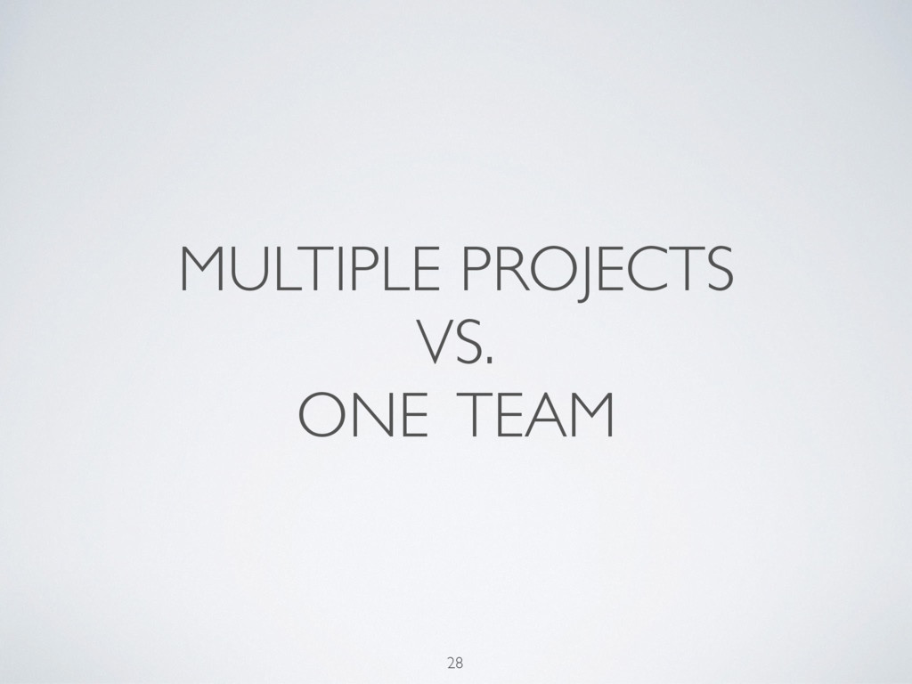 MULTIPLE PROJECTS VS. ONE TEAM 28