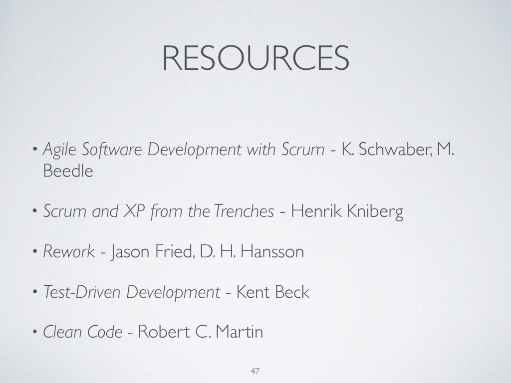 RESOURCES • Agile Software Development with Scr...