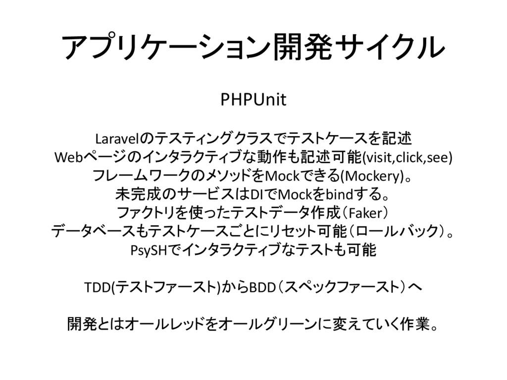 アプリケーション開発サイクル PHPUnit Laravelのテスティングクラスでテストケース...