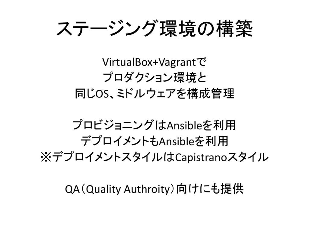 ステージング環境の構築 VirtualBox+Vagrantで プロダクション環境と 同じOS...