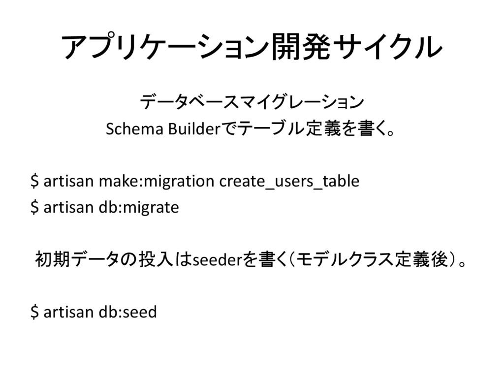 アプリケーション開発サイクル データベースマイグレーション Schema Builderでテー...