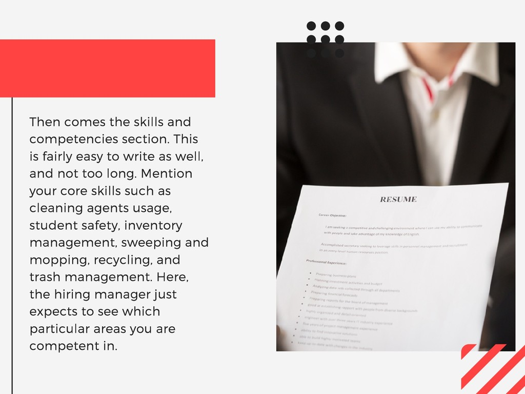 Then comes the skills and competencies section....