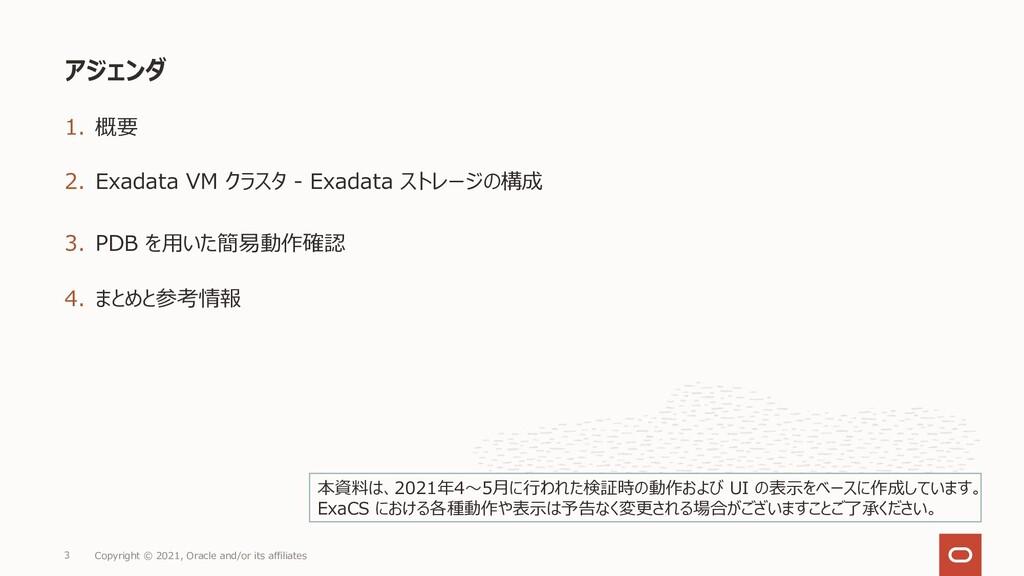 1. 概要 2. Exadata VM クラスタ - Exadata ストレージの構成 3. ...