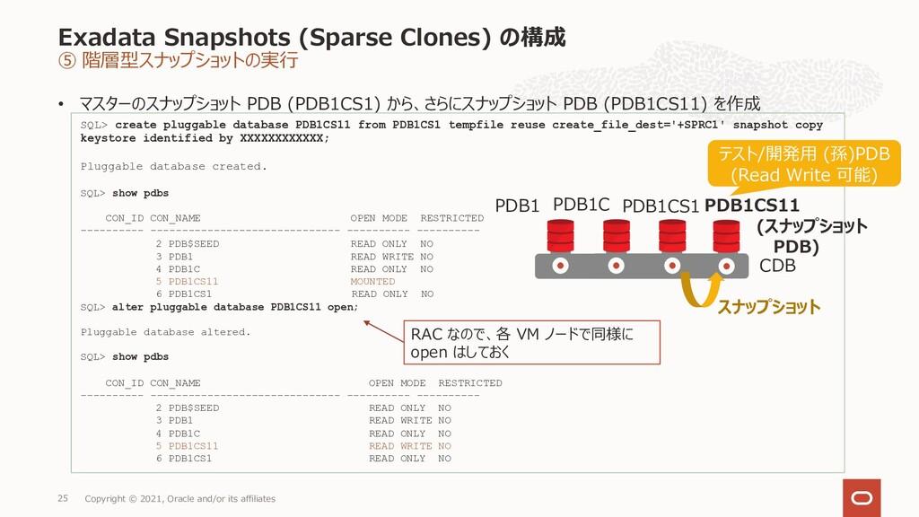 Exadata Snapshots (Sparse Clones) の構成 ⑤ 階層型スナップ...