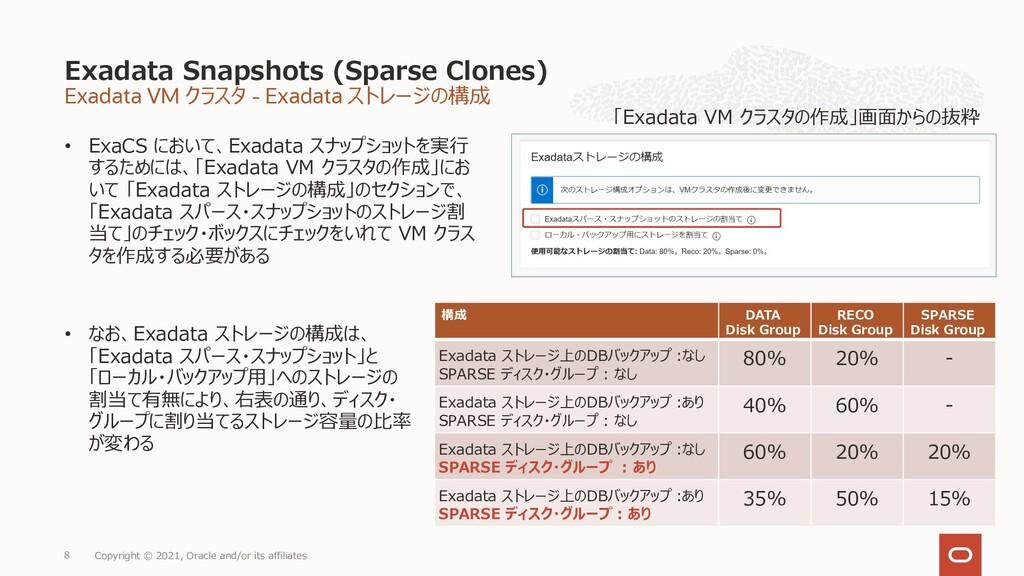 Exadata VM クラスタ - Exadata ストレージの構成 • ExaCS において...