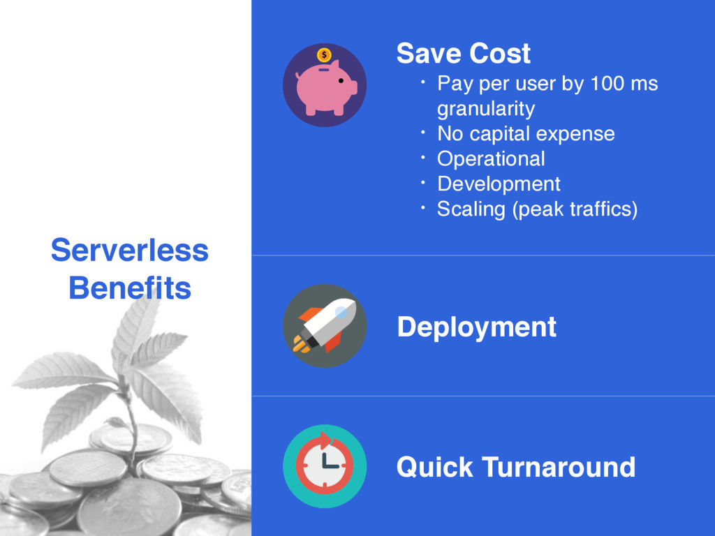 Serverless Benefits Quick Turnaround Save Cost •...