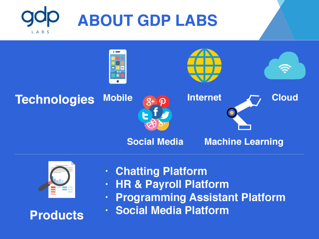 ABOUT GDP LABS Products • Chatting Platform • H...