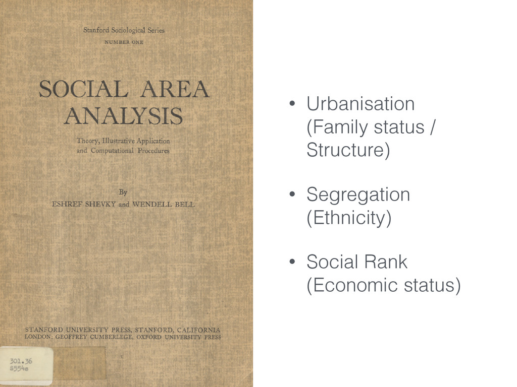 • Urbanisation (Family status / Structure) • Se...