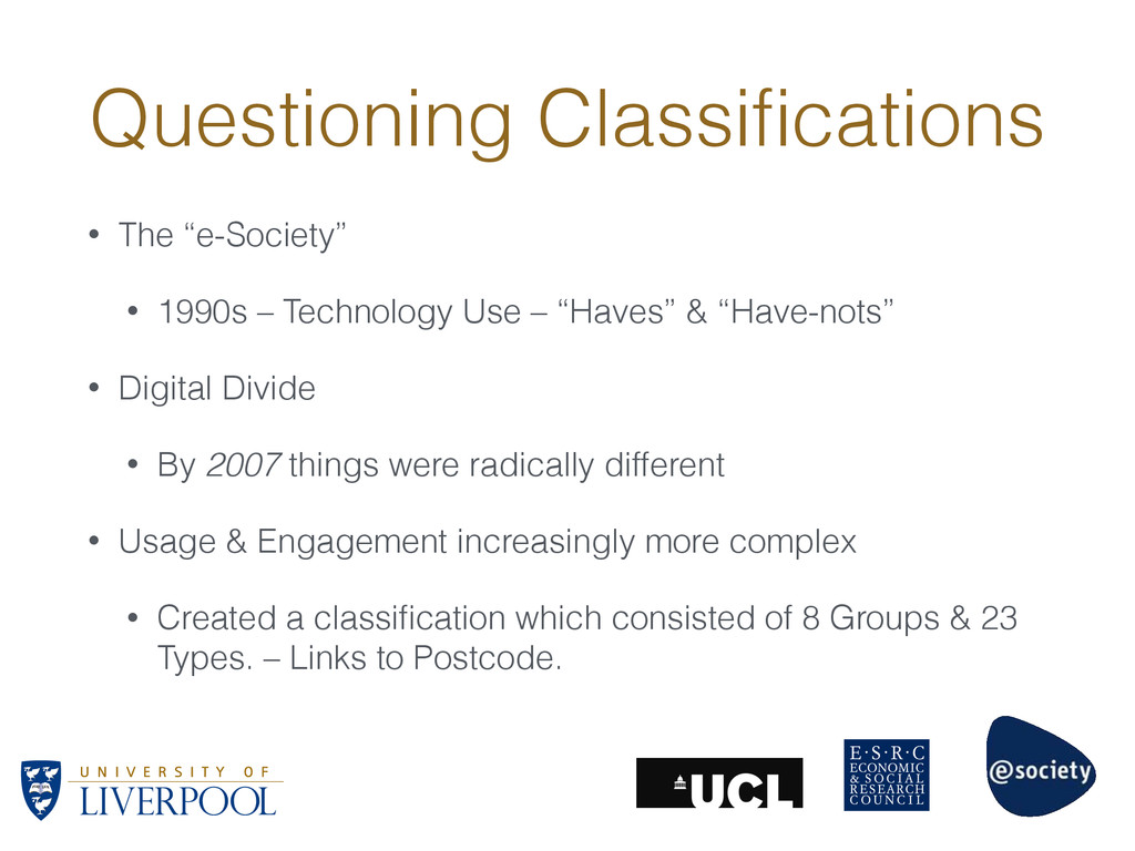 "Questioning Classifications • The ""e-Society"" • ..."