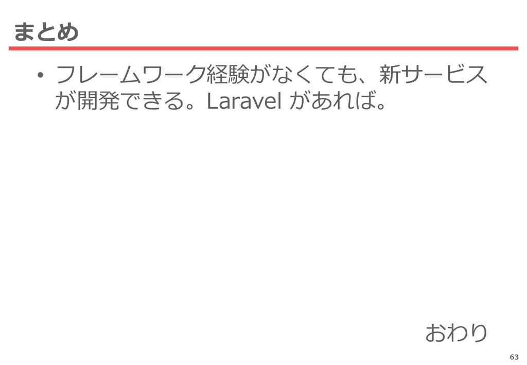 まとめ • フレームワーク経験がなくても、新サービス が開発できる。Laravel があれば。...