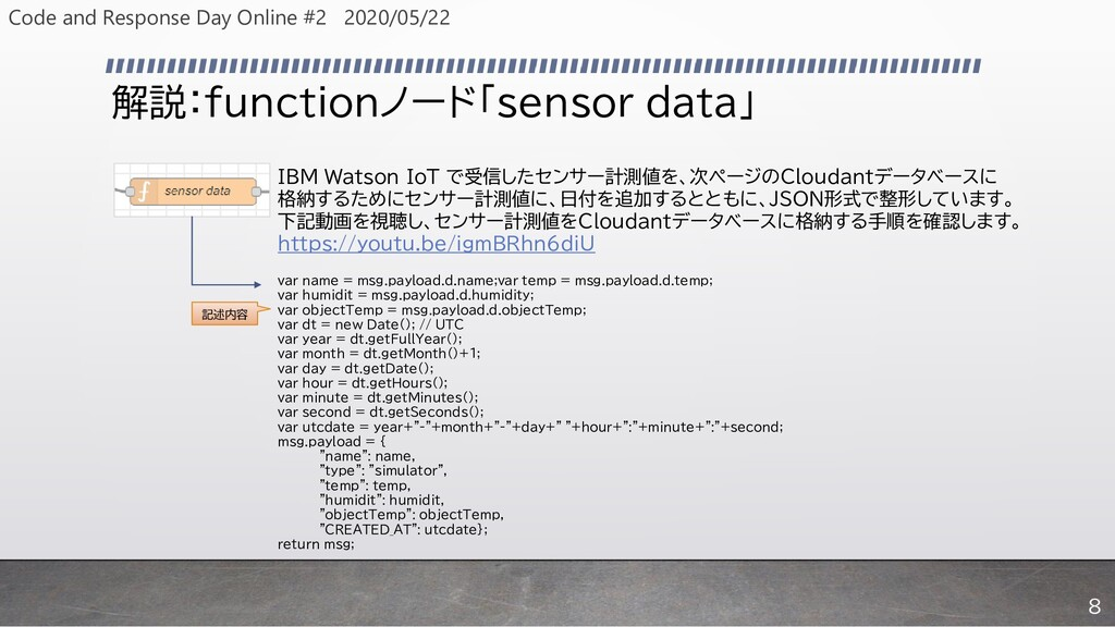解説:functionノード「sensor data」 IBM Watson IoT で受信し...