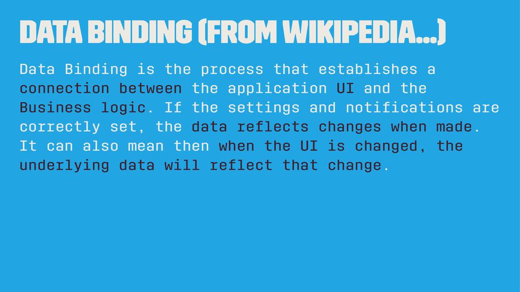 Data Binding (from Wikipedia...) Data Binding i...