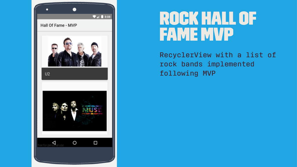 Rock hall of fame MVP RecyclerView with a list ...