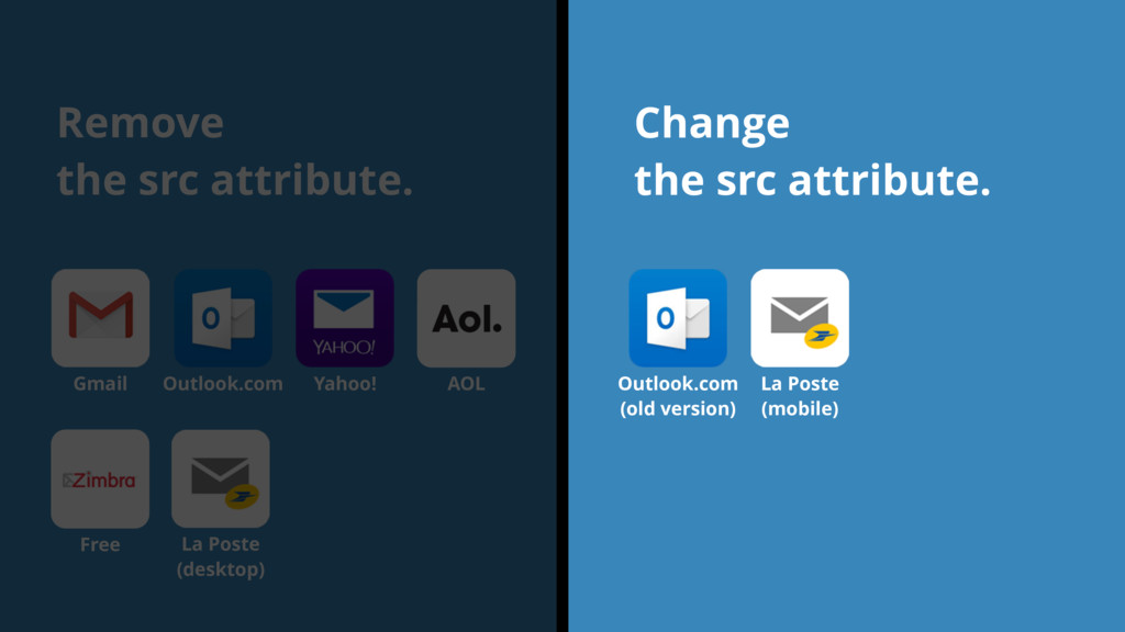 Change the src attribute. Gmail Outlook.com Yah...