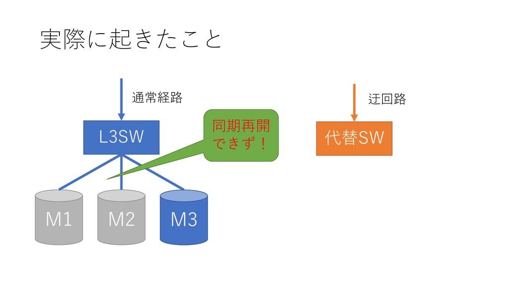 実際に起きたこと M2 M1 M3 L3SW 通常経路 代替SW 迂回路 同期再開 できず!