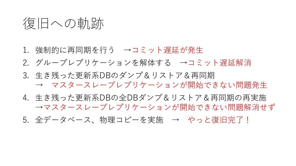 復旧への軌跡 1. 強制的に再同期を行う →コミット遅延が発生 2. グループレプリケーション...