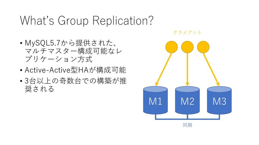 What's Group Replication? • MySQL5.7から提供された、 マル...