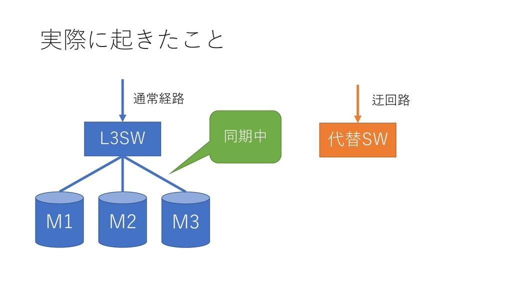 実際に起きたこと M2 M1 M3 L3SW 通常経路 代替SW 迂回路 同期中